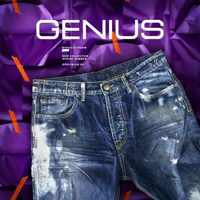 Jeans Uomo Genius Made In Italy 34 Stonewashed Destroyed Mod.diesel Narrot
