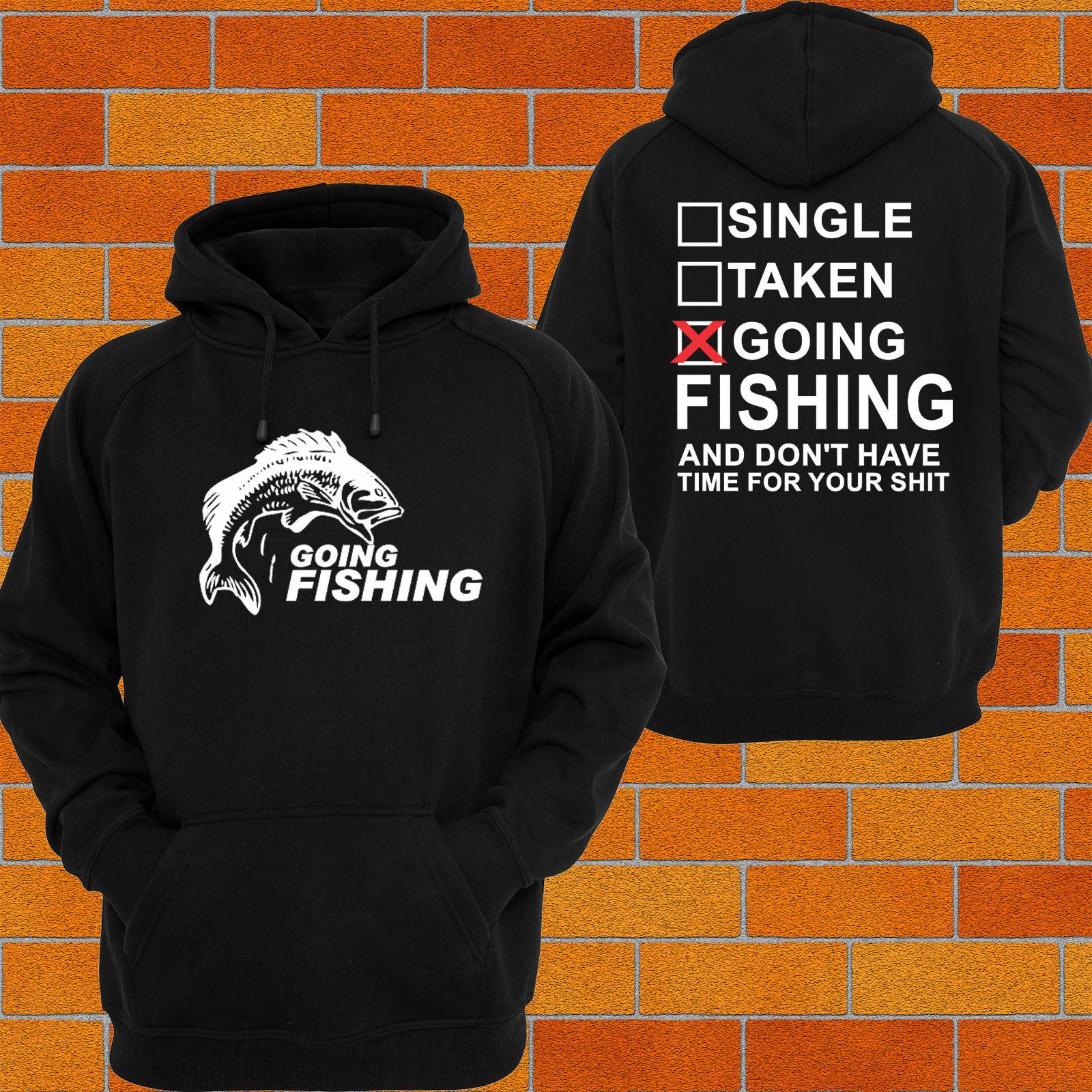 Herren Hoodie FISHING rod Lure Funny slogan Fish Gone Fishin Hoody Hooded Jumper