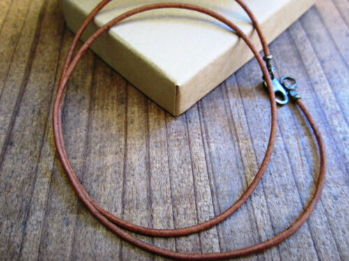 mens Brown Antiqued Sterling Silver Clasp//ends 1.5mm Leather Cord Necklace