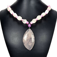 Natural Rose Quartz & Pearl Pendant Necklace Handcrafted Jewelry Gift For Women