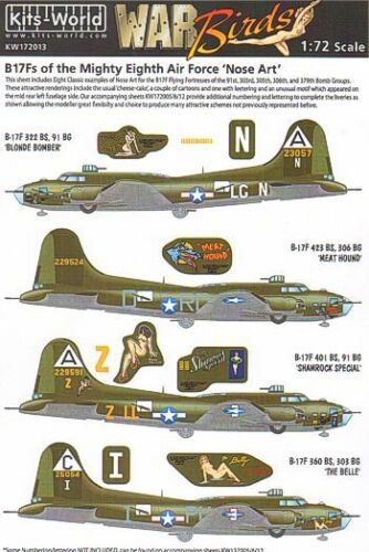 Kits-World 1//72 Boeing B-17F Flying Fortress Nose Art from the Mighty 8th # 7201