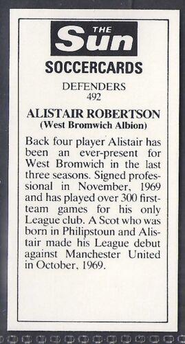 ALISTAIR ROBERTSON SUN-SOCCERCARDS FOOTBALL-#0492 WEST BROM WBA