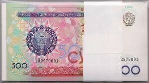Mazuma *F796 Uzbekistan 1999 500 Som LH2979001-100 Stack 100 Running UNC