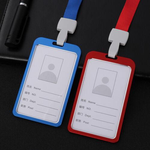 Aluminum Pocket Credit ID Card Badge Tag Holder Pass Case Neck Strap Lanyard Lot