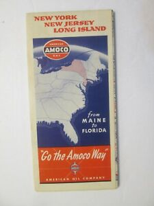 Amoco Road Map of New York New Jersey Long Island 1940