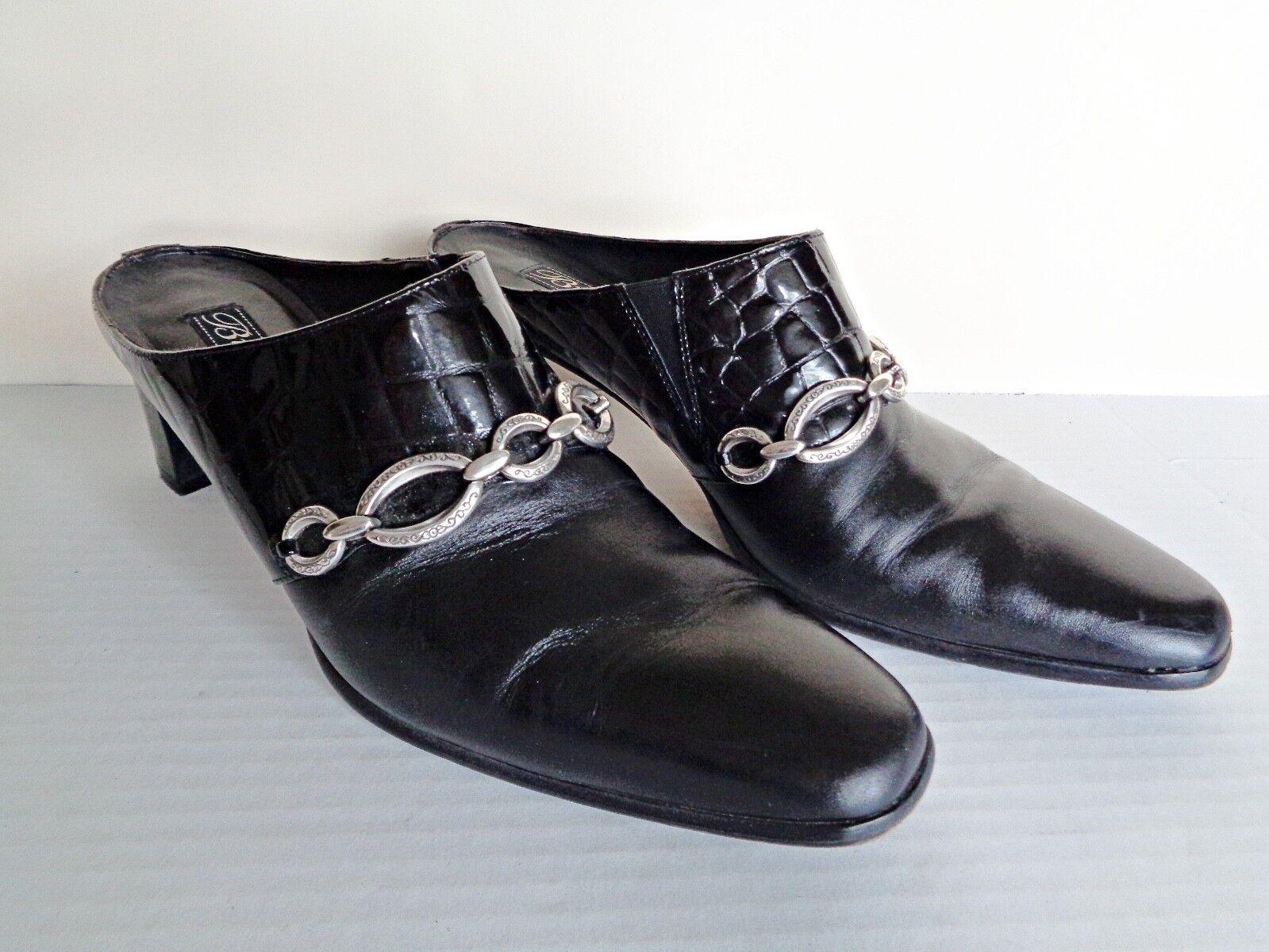 liquidazione fino al 70% Brighton TWIGGY nero Croc Croc Croc Leather Mules Heels scarpe 8N - EUC  garanzia di credito