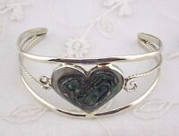 Alpaca Mexican Silver Cuff Bracelet Abalone Shell Heart Fashion Jewelry