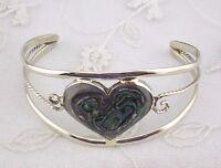 Alpaca Mexican Silver Cuff Bracelet Abalone Shell Heart Fashion Jewelry