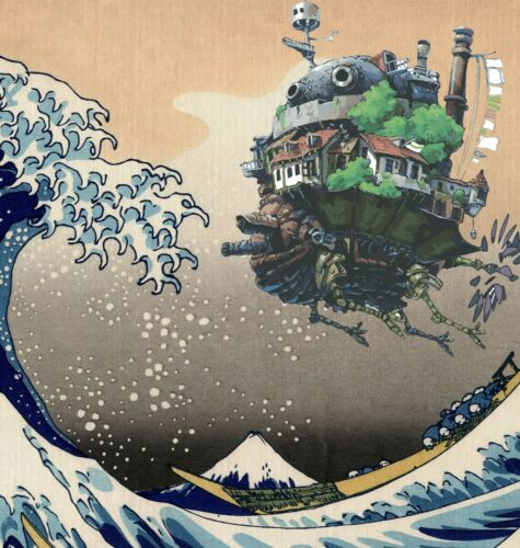 Studio Ghibli Gift Poster Ghibli Fan Howl/'s Moving Castle /& Great Wave Print