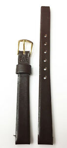VINTAGE-9MM-PLAIN-BROWN-GENUINE-LEATHER-STRAP-BAND-GOLD-TONE-BUCKLE-NOS