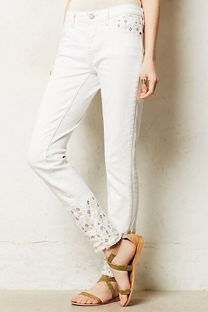 NWT Anthropologie Embroidered Ankle Summer Jeans Amazing 5 Stars Size 26