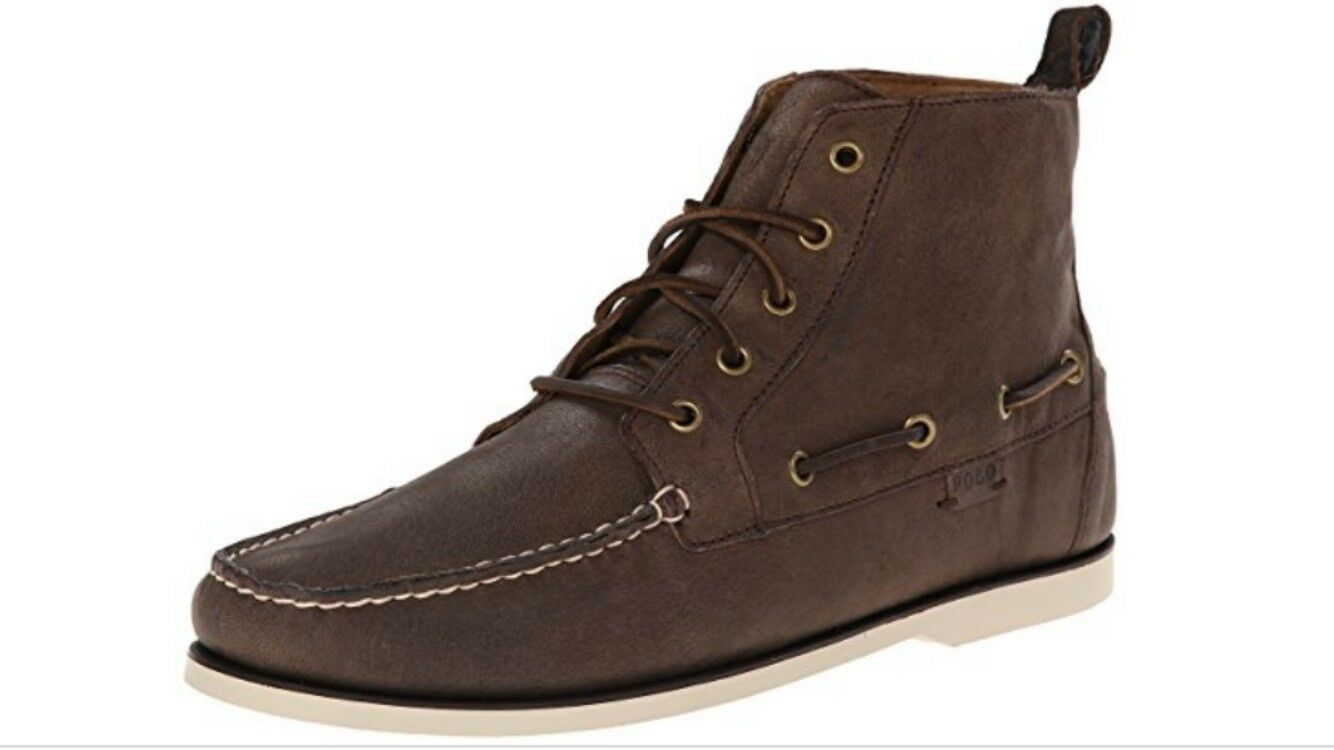 POLO RALPH LAUREN MEN'S BARredT DARK BROWN WAXY PULL UP LEATHER BOAT Size 11.5 D