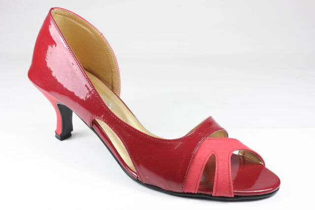 New Womens Casual Evening Prom Semi Patent Mid Heel Leather Court Shoes UK 3-8