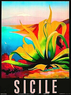 POSTER AGRIGENTO SICILY VALLEY OF THE TEMPLES ITALY TRAVEL VINTAGE REPRO FREE SH