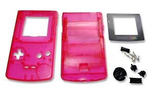 Game-Boy-Gameboy-Color-GBC-Transparent-Red-Shell-Case-Housing-w-Screen-amp-Tools