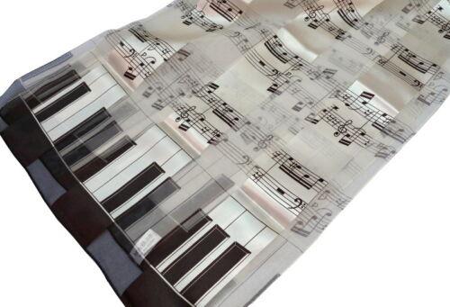 Schal mit Noten Klavier Tasten Tastatur und Streifen creme braun Damen 063