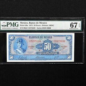 1972-Mexico-50-Pesos-Pick-49u-PMG-67-EPQ-Superb-Gem-Unc