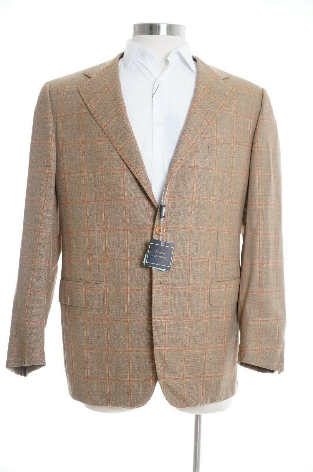 K Sartoria Partenopea  Camel Windowpane Plaid 42R 100% Wool Blazer