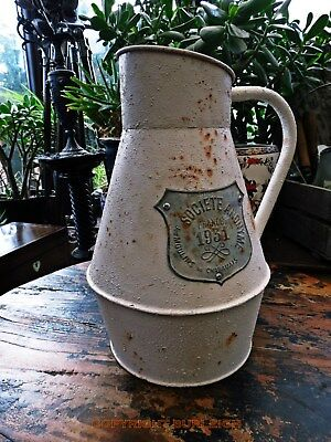 GREAT CHARACTER PATINA FLOWERS A VINTAGE STYLE FRENCH METAL JUG VASE SHABBY