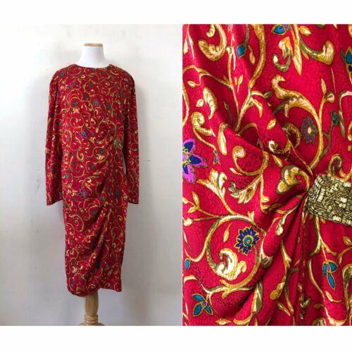 Vintage Floral Silk Dress Size Large 1980s Embosse