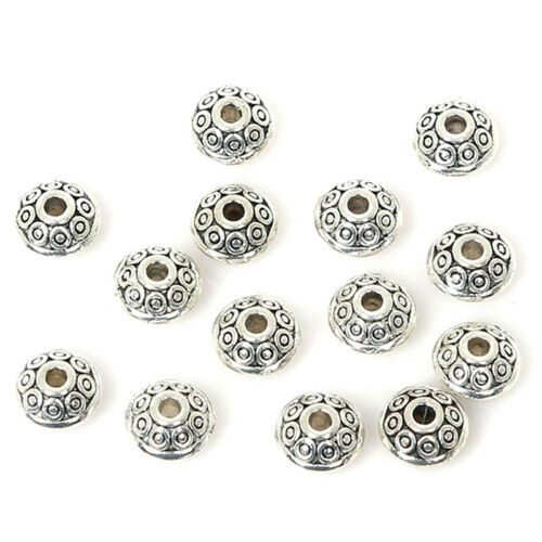 50pcs Tibetan Silver Metal Charms Loose Spacer Beads Wholesale Jewelry Making BC