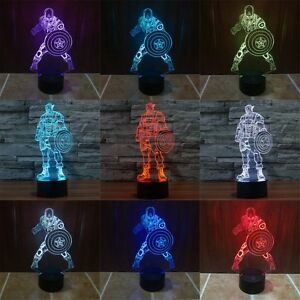 Image Is Loading Marvel Superhero 3D Illusion Night Light 7 Colors