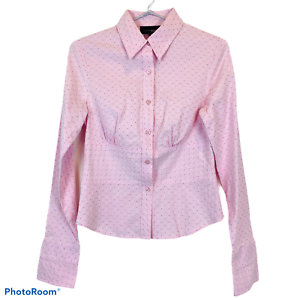 Tokito-Womens-Pink-Striped-Long-Sleeve-Button-Up-Blouse-Size-10