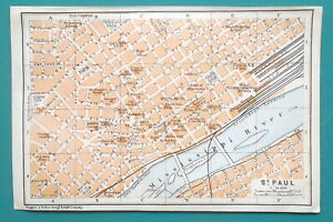 SAINT-PAUL-Minnesota-City-Town-Plan-1909-MAP-Baedeker-4-x-6-034-10-x-15-5-cm