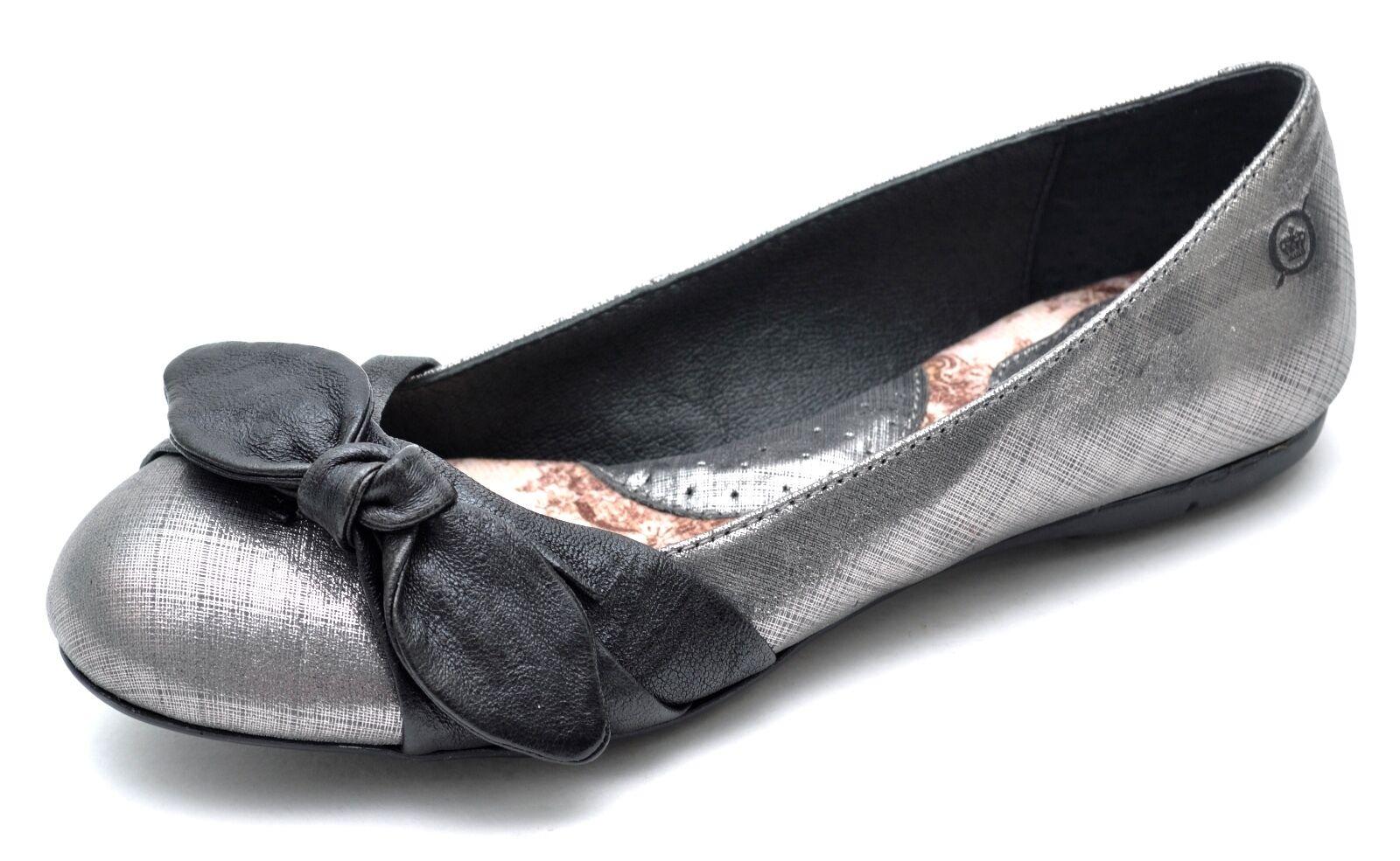 Born MOLLY Metallic Leather Silver Black Ballet Flats Women's 6 - NEW - B59456