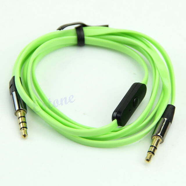 3.5mm Noodle Flat Stereo Headphone Audio AUX Extension Cable Cord Microphone