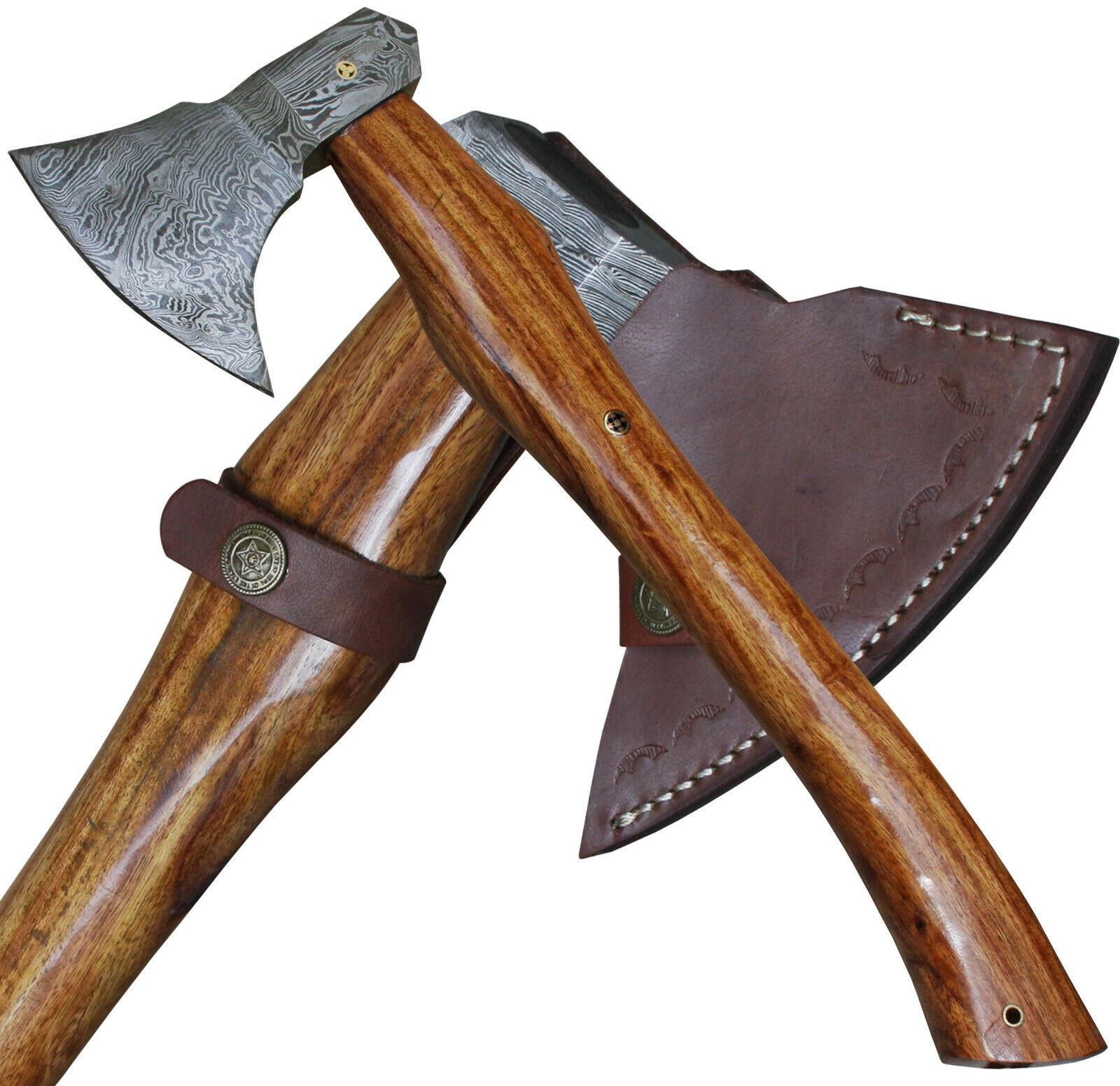 Haller kräftige Axt mit Damastblatt geschwungener Holzgriff inkl. Lederscheide