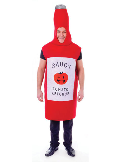 Adult Saucy Tomato Ketchup Bottle Fancy Dress Costume Outfit Food Fun Hen Stag