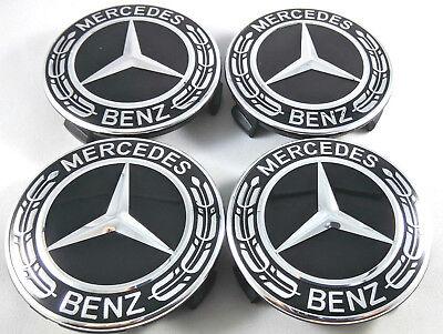 WHEEL CENTER CAPS BLACK 75MM 4PC SET FOR MERCEDES BENZ AMG C ML CLS S GL SL E CL