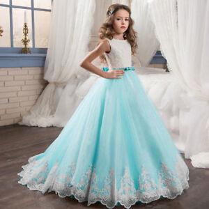 ea75aa9dc33 Flower Girl Dress Boat Neck Princess Prom Dress Blue Lace Floor ...