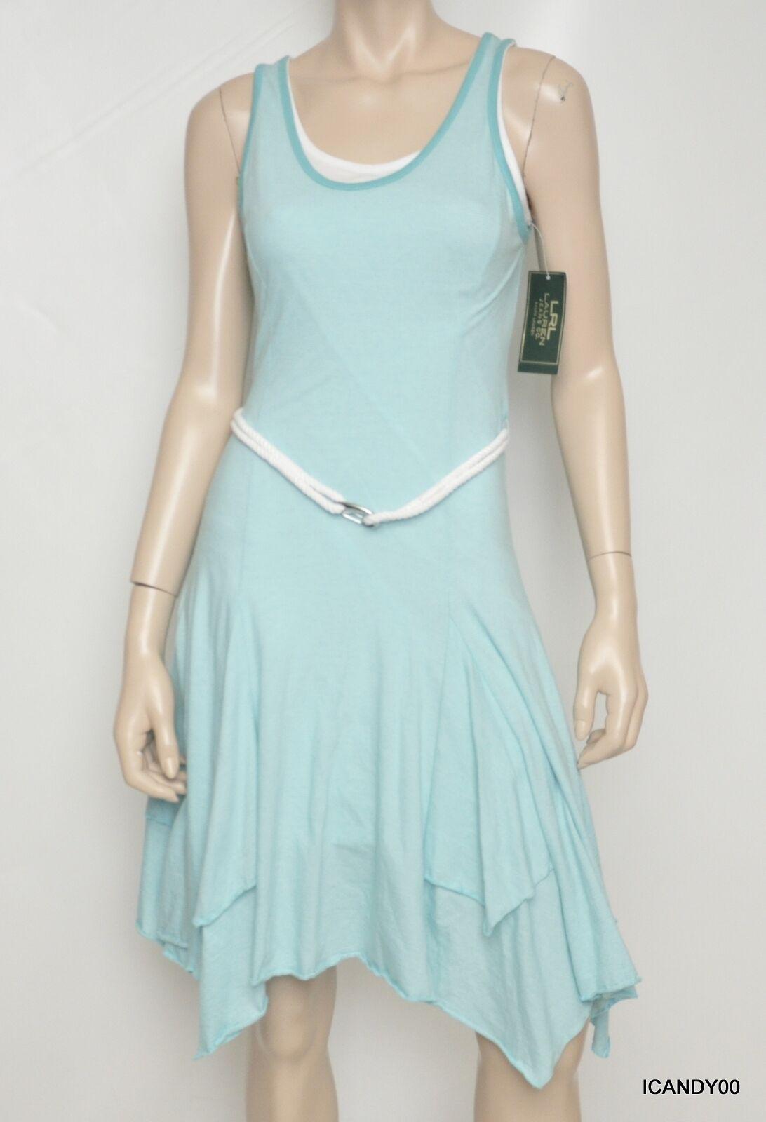 Nwt  LRL RALPH LAUREN Jeans Co Cotton Sleeveless Belted Dress Aqua Weiß XS