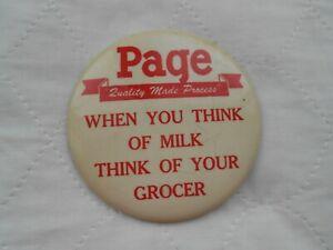 """VTG HTF Page Milk Advertising 4"""" Pinback Button Coffeyville Ks Estate Find"""