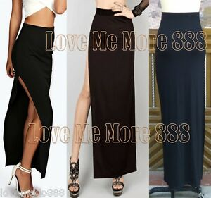 6d05421cb53 Details about Womens Casual High Waisted front High Split Slit Slim Fit Long  Maxi Skirt Black