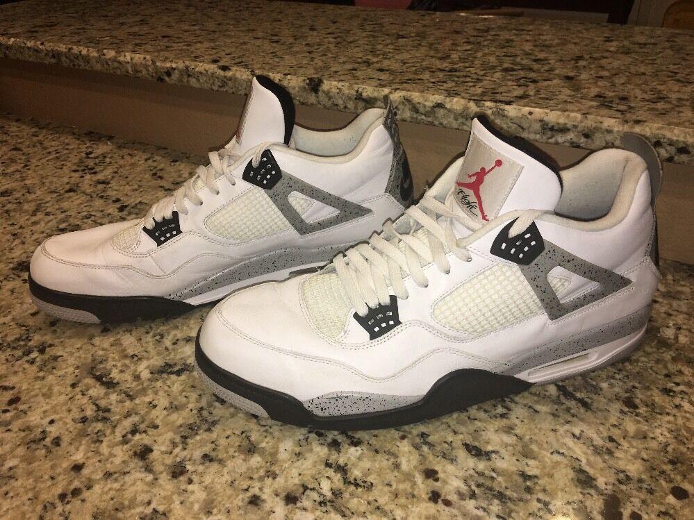 Nike air jordan 4 retrò og bianco / fuoco red-blk-grey 840606-192 senza la figura di dimensioni 18