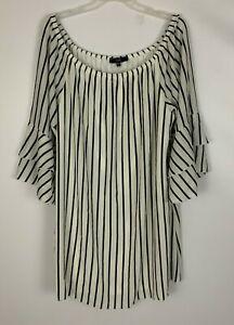 Vibe-Black-White-Vertical-Stripe-Ruffled-Slv-Off-Shoulder-Shift-Dress-Size-3X