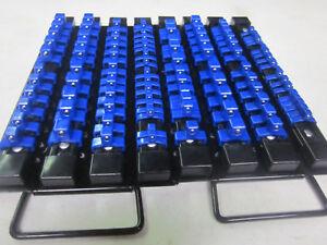 2-BLUE-98-CLIPS-SOCKET-TRAY-HOLDER-ORGANIZER-RAIL-RACK-1-4-034-3-8-034-1-2-034-DR-ABS