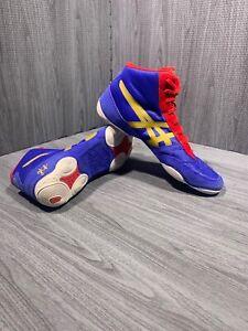 Asics JB Elite V2.0 J501N Mens Athletic Wrestling Shoes Olympic Blue Red S  9.5 | eBay