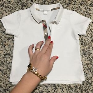 039998120562 1 Year 12 Months Authentic Burberry Baby Boy s Polo T- Shirt White ...