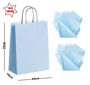 Light Blue Square Paper Party Gift Bags /& Tissue Wrap ~ Boutique Shop Loot Bag