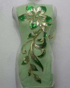 1Pcs-Embroidery-Floral-Tulle-Sequins-Metal-Applique-Motif-Gold-Green-Sew-On