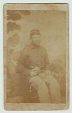 CDV Photo  Union Civil War Soldier Armed  Double Pistols & Knife Elmira NY 1860s