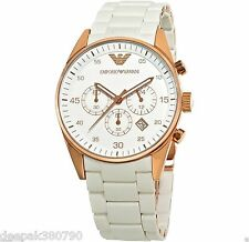 Emporio Armani AR5919 White Sportivo Chronograph Men's Watch + Box - Imported