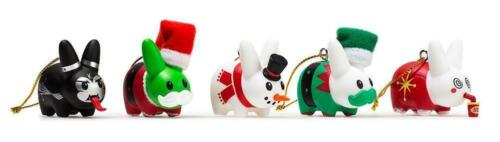 FRANK KOZIK HAPPY LABBIT CHRISTMAS TREE ORNAMENTS 5 PACK BY KIDROBOT