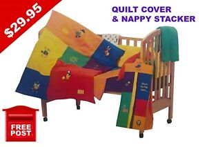 SALE-Bright-Bots-NAPPY-STACKER-amp-QUILT-COVER-100-cotton