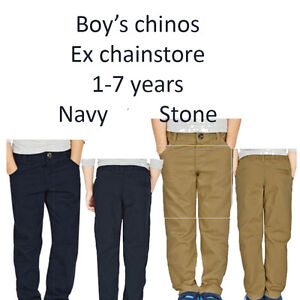 BOYS-CHINOS-EX-M-S-1-7-YEARS-100-COTTON-NAVY-AND-STONE