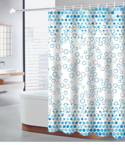 100/% POLYESTER FABRIC WASHABLE PRINTED SHOWER CURTAIN MODERN 12 HOOKS 180x180